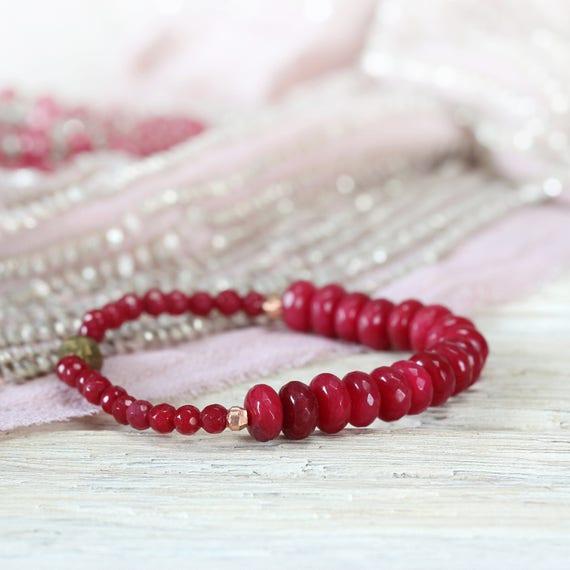 Red Jade Bracelet - Red and Rose Gold Bracelet