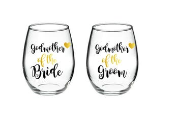 Godmother of the Bride - Godother of the Groom - Set of 2 - 21 oz stemless wine glasses