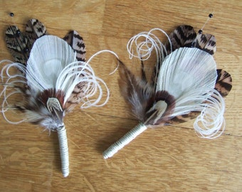 """2 x Pheasant Peacock Feathers Cream Brown """"Leanne"""" Wedding Boutonnieres - Woodland Rustic Wedding Groom Best Man Buttonhole Lapel Pins"""