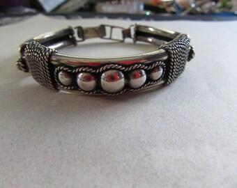 """Sterling Silver Men's Vintage Bracelet 44.4 Grams 8 1/4"""" Long Plus Size Wrist Fine Jewelry"""