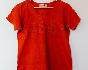 Women's vintage blouse / size medium / orange / cotton/ short sleeve