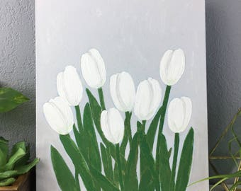 White Tulip Original Painting, 11 x 14 Acrylic on Thin Canvas Panel, Neutral Wall Decor, White on White Modern Floral Art Painting