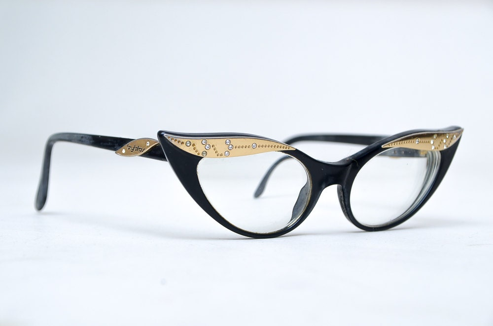 Eyeglass Frame Oxidation : Extreme Cat Rhinestone Black and Gold Byblos Italian