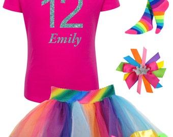 12th Birthday Shirt Party Outfit Rainbow Socks Birthday Tutu Tween Hair Bow Birthday Girl Shirt Personalized Age Name T-Shirt Bling Tee