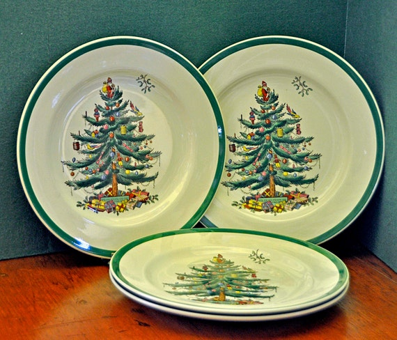 "Vintage 1957-63 Four 4 COPELAND/SPODE CHRISTMAS Tree (Green Trim) S3324 Dinner Plates 10 1/2"" England Back Stamp, as Shown"