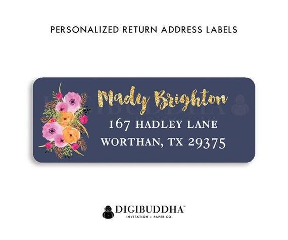 modern address labels navy gold return address labels pink flowers