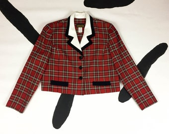 90s Red Plaid Cropped Blazer Jacket / Clueless / The Nanny / Size 12 / Large / Grunge / Tartan / Preppy / Oversize Collar / Party Girl /
