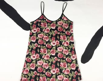 90s Watercolor Pink Rose Allover Print Spaghetti Strap Tank Dress / Slip Dress / Clueless / Club Kid / Rave / Romantic / Angel Baby / M /
