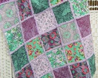 Throw, rag quilt, blanket, lap quilt. All cotton. Fabulous Amy Butler designer floral fabrics in jade green and purple. Flannel backed.