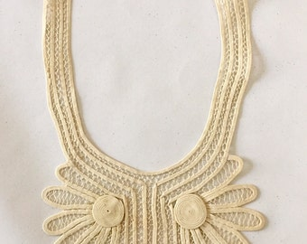 Vintage Edwardian 1910s 1920s Collar Applique from Au Bon Marche with Tag
