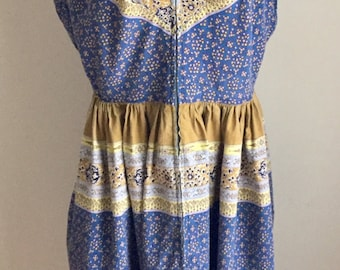 Vintage 1950s 60s Maxan Front Zip Blue Ochre Green Boho Print Sleeveless Dress 10 12