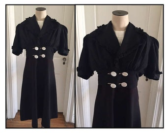 Vintage 1930s 40s Jo Dee Junior Dress and Ruffled Jacket Set Black Cream 2 4