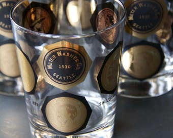 Set of 6 Gorgeous Mid Century International Coin Bar Glassware