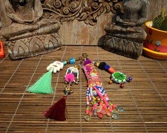 Vintage Textile Key Chain, Bead And Tassel Key Chain, Shell and Bead Key Chain, Tribal Keychain