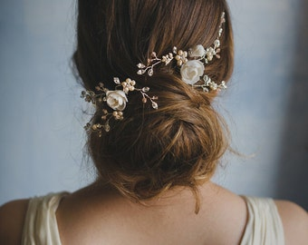 White and pink floral vine hair pins, Wedding flower headpiece, set of two - style 506