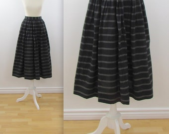 Black + White Full Midi Skirt - Vintage 1980s Simon Chang Skirt in Small