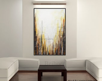 Large original abstract painting contemporary art amber modern acrylic abstract painting artwork design by L.Beiboer