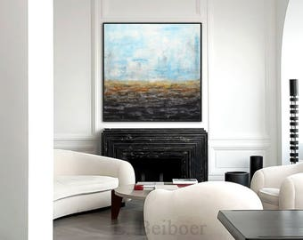 Original abstract art painting handmade 30 x 30 contemporary chalky blue acrylic modern abstract fine art by L.Beiboer