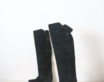 thigh high leather boots / 6.5