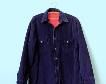 vintage mens blue corduroy quilted workshirt / insulated shirt / quilted jacket size large
