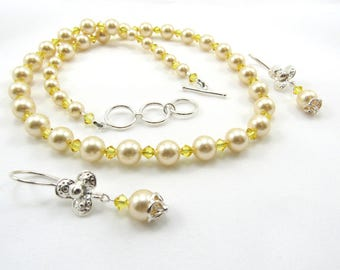 Pearl Necklace, Women's Jewelry Set, Beaded Necklace & Earrings, Swarovski Crystal Jewelry, Yellow Necklace, Bridal Wedding Jewelry