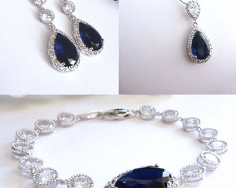 Bridal Jewelry SET - Dark Sapphire Blue Cubic Zirconia Earring, Necklace and Bracelet SET
