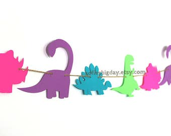 Dinosaur Banner-Girl Dinosaur Garland-Dinosaur birthday-Dinosaur decor-dinosaur party-1ST birthday-dinosaur party decorations- ready to ship