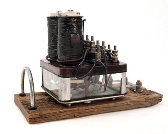 Charging Station, Laptop Dock, Phone Dock, Stand made from Vintage Railroad Equipment, Union Switch and Signal Railroad Relay