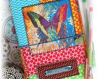 OOAK Fauxdori, Fabric Collage Midori, Butterfly Traveler's Notebook, Free Insert!
