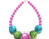 Toddler or Girls Sequin and Pearl Chunky Necklace - Hot Pink, Green and Turquoise Necklace - Mermaid Sequin Chunky Necklace - Pink Necklace