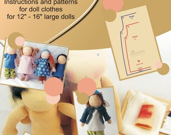 "PDF Tutorial and Pattern - Doll clothes 12"" and 16"" - englisch"