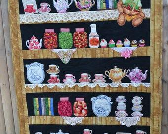 Modern Art Quilt Wall Hanging Textile Book Shelf Tea Cup Tea Pots Teddy Bears Canned Fruit Vintage Doilies Vintage Hankie Wall Quilt