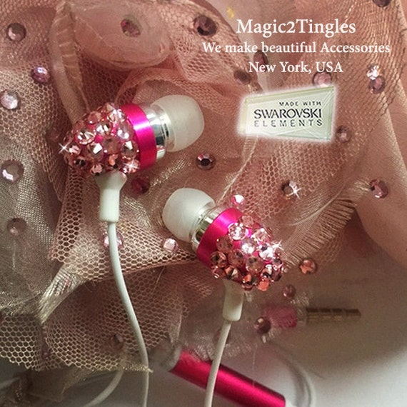 Pink Blue Black Gold Green Swarovski Crystal Earphone Headphone Earbuds Handsfree with Microphone for ALL iPhone Samsung Any 3.5mm Plug