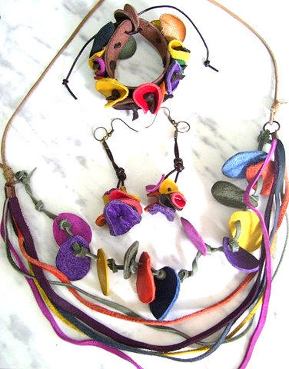 Set of 3 - Leather bracelet - leather bangle - leather Earrings - colorful set - leather set - genuine leather - jewellery