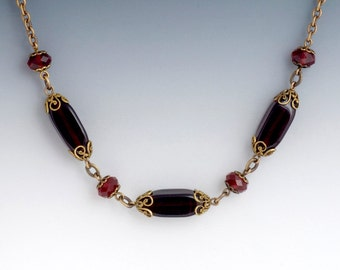 Vintage Style Bead Necklace, Dark Red Necklace, Deep Red Glass Jewelry, Red Filigree Jewelry, Antiqued Brass Nickel Free Necklace, Gayla
