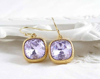 Swarovski Earrings ~ Violet ~ Gift for Her ~ Cushion Cut ~ Light Amethyst ~ Lavender Earring ~ February Birthday