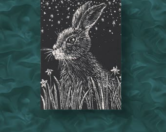 Hare ACEO - Small scratchboard drawing of a hare at night.