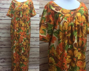 Vintage 70s Hawaiian Muumuu Orange Flower Marjy Stevens Dress XL