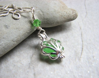 Sea Glass Locket Necklace, Green Beach Glass Jewelry, Sterling Silver Chain with Seaglass Pendant, Beach Gifts Under 30