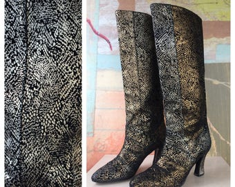 J. Renee Suede Boots 8 • Vintage High Heel Suede Boots • Textured Suede Boots • Snakeskin Print • Gold & Silver Boots • 80s Knee High Boots