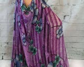 Open hip harem pant in purple with blue flowers for belly dance, burlesque, caberet