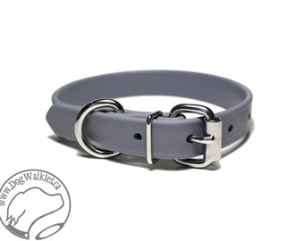 "NEW - Stormy Gray 3/4"" (19mm) Beta Biothane Dog Collar - Leather Look and Feel - Adjustable custom - Stainless Steel or Brass Hardware"
