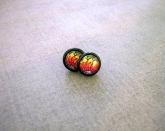 Sunflower Stud Earrings - Primary Colors Black Posts