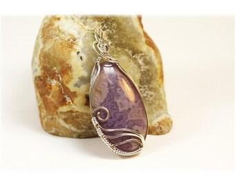 Purple Agate / Wire Wrapped Purple Agate / Purple Agate Pendant
