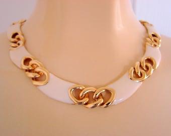 1980s Retro Creamy White Modernist Enamel & Goldtone Link Necklace / Vintage Jewelry / Jewellery
