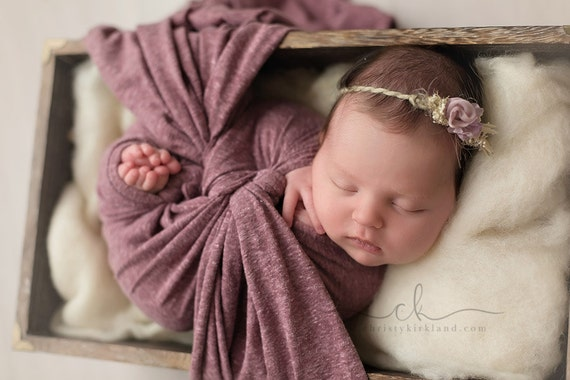 ORGANIC COLLECTION ~ Leanna (Newborn Tieback, Newborn Headband, Newborn Photo Prop, Newborn Halo, Flower Crown, Photography Prop, Lilac)