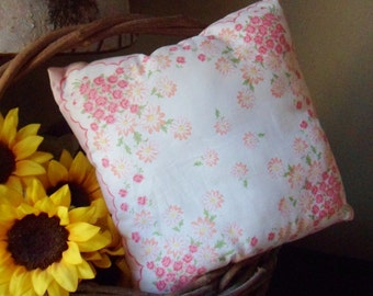 Pink and White Hanky Pillow, Handmade Floral Handkercheif Pillow