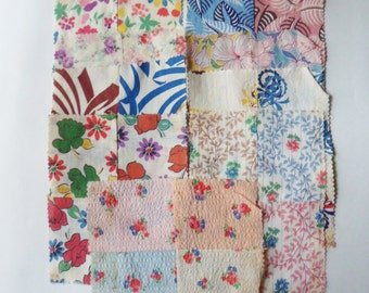 Old Blouse Fabric Scraps 40's, Nine Assorted Fabric Squares