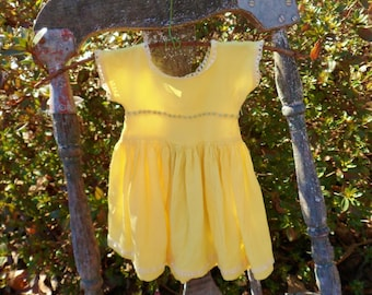 Yellow Silk Crepe Doll Dress, 50s Doll Dress with Lace and Blue Beading