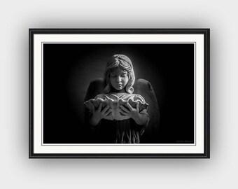 Somber Black and White Angel, Bonaventure Cemetery Savannah Georgia, Angel Child, Grief Death Mourning Fine Art Photography Print